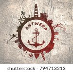 circle with sea shipping and... | Shutterstock . vector #794713213