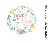 lovely valentines day gift card ...   Shutterstock .eps vector #794715403