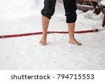 caucasian male standing in snow ...   Shutterstock . vector #794715553