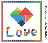 tangram brain game heart with...