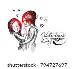 romantic lovers for valentine's ... | Shutterstock .eps vector #794727697