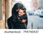 young man giving girlfriend... | Shutterstock . vector #794740537