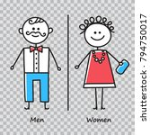 wc. toilet door plate icons on... | Shutterstock .eps vector #794750017