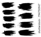 grunge ink brush strokes set.... | Shutterstock .eps vector #794750947