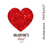 red shining vector hearts.... | Shutterstock .eps vector #794761417