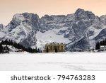 Winter Scene Of Misurina Lake...