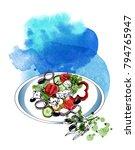 greek salad. watercolor vector... | Shutterstock .eps vector #794765947