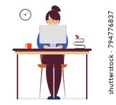 girl sitting at the desk and... | Shutterstock .eps vector #794776837