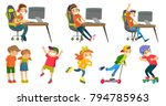 caucasian white girls and boys... | Shutterstock .eps vector #794785963