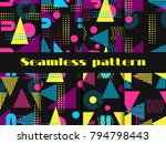 memphis seamless pattern set.... | Shutterstock .eps vector #794798443