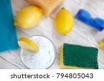 baking soda with lemon and... | Shutterstock . vector #794805043