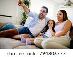 happy family watching... | Shutterstock . vector #794806777