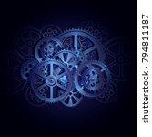 steel gears on a black... | Shutterstock . vector #794811187