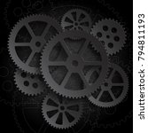 drawing gears on a black... | Shutterstock . vector #794811193