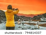 woman blogger taking photo by...   Shutterstock . vector #794814337