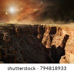 solar light on rocky cliff of... | Shutterstock . vector #794818933