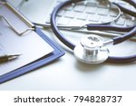 tablet pc and medical... | Shutterstock . vector #794828737
