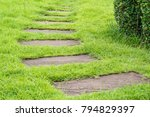 walkway on green grass in park | Shutterstock . vector #794829397