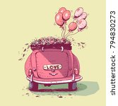 wedding car  vector... | Shutterstock .eps vector #794830273