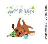 birthday puppy portrait. cute... | Shutterstock .eps vector #794835883
