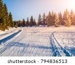 crossroad of cross country... | Shutterstock . vector #794836513