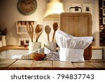 kitchen interior and cook hat... | Shutterstock . vector #794837743