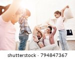 two girls and a boy fight with... | Shutterstock . vector #794847367