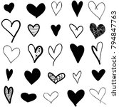 hearts hand drawn icons set... | Shutterstock .eps vector #794847763