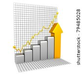 Silver Business Chart With Gold Part - stock photo