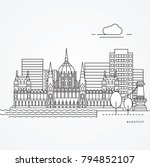linear illustration of budapest ... | Shutterstock .eps vector #794852107