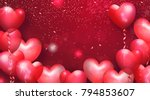 beautiful background with heart ... | Shutterstock .eps vector #794853607