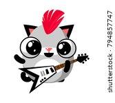 illustration of funny kitten...   Shutterstock .eps vector #794857747