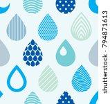 falling rain drops water vector ... | Shutterstock .eps vector #794871613