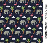seamless pattern jungle...   Shutterstock .eps vector #794872453