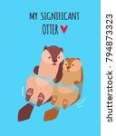 romantic valentine's day card.... | Shutterstock .eps vector #794873323