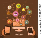 education flat icon concept....   Shutterstock .eps vector #794879503