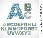 ecology style flowery font ... | Shutterstock .eps vector #794883997