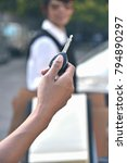hand holding car keys remote... | Shutterstock . vector #794890297