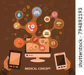 medical flat icon concept.... | Shutterstock .eps vector #794892193