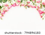floral frame made of pink roses ... | Shutterstock . vector #794896183