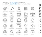 collection of hosting thin line ... | Shutterstock .eps vector #794927257