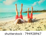 father and son having fun on... | Shutterstock . vector #794928967