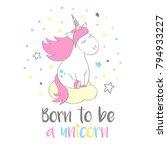 Magic Cute Unicorn In Cartoon...