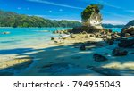 sunny beach in new zealand. | Shutterstock . vector #794955043