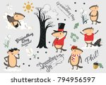 happy groundhog day set  cute... | Shutterstock .eps vector #794956597