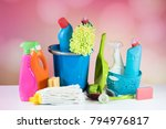 cleaning concept with supplies | Shutterstock . vector #794976817