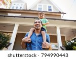 father giving son ride on...   Shutterstock . vector #794990443