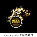 beer party. splash of beer with ... | Shutterstock .eps vector #794993227