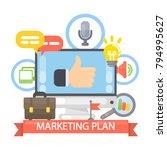 marketing plan illustration.... | Shutterstock .eps vector #794995627