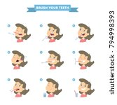 brush your teeth set with girl. ... | Shutterstock .eps vector #794998393